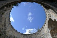 Binnen de toren van Chateau Gaillard stock foto