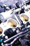 Binnen details van een motorfietsmotor stock afbeelding