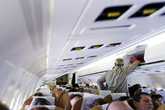 Binnen een commercieel lijnvliegtuig stock foto