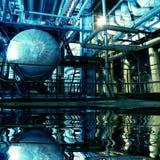 Binnen een Industriële Elektrische centrale met bezinning Stock Foto