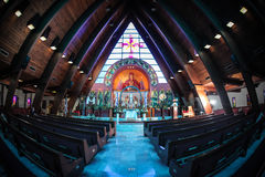 Binnen een kerk Stock Foto
