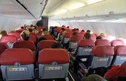 Binnen een vliegtuig Royalty-vrije Stock Fotografie