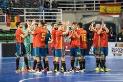 Binnen footsal gelijke van nationale teams van Spanje en Brazilië bij het Multiusos-Paviljoen van Caceres stock foto's