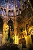 Binnen gotische kathedraal Leon Stock Fotografie