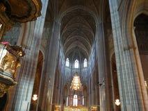 Binnen Gotische Kerk in Uppsala Stock Afbeelding