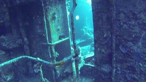 Binnen het gedaalde schip stock video