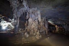 Binnen het hol in aard niemand met stalagmieten in Thailand royalty-vrije stock afbeeldingen
