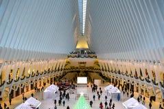 Binnen het Oculus-Gebouw in Lower Manhattan, NYC royalty-vrije stock foto's