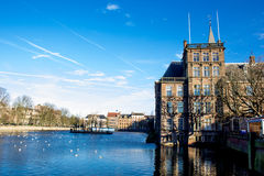 BinnenHof Palace in Den Haag. Den Haag lake in front of Binnen Hof, where the Dutch Parliament is seated Royalty Free Stock Images