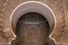 Binnen medersa Ben Youssef in Marrakech, Marokko Stock Afbeelding
