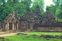 Binnen mening van Banteay Srey.Cambodia Stock Foto's