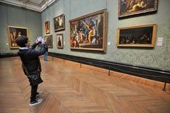 Binnen National Gallerymuseum in Londen, Engeland Stock Foto's
