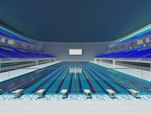 Binnen Olympische zwembadarena met blauwe zetels Stock Afbeeldingen