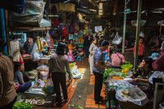 Binnen openluchtmarkt in Phom Penh, Kambodja Royalty-vrije Stock Fotografie