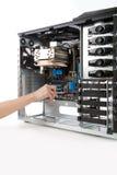 Binnen opnemend motherboard aan computergeval Stock Afbeelding