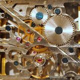 Binnen oud mechanisch horloge Royalty-vrije Stock Afbeeldingen