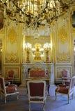 Binnen Schitterend koninklijk paleis met Open haard Stock Fotografie