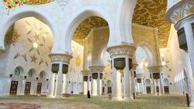 Binnen Sheikh Zayed Mosque, Abu Dhabi, Verenigde Arabische Emiraten Royalty-vrije Stock Foto's