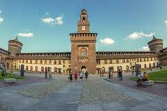 Binnen van Castello Sforzesco in Milaan, Italië royalty-vrije stock foto