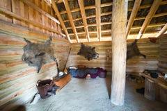 Binnen van de hut van de jager Royalty-vrije Stock Foto's
