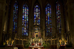 Binnen van de Kathedraal notre-Damme royalty-vrije stock foto's