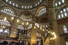 Binnen van de Moskee van Edirne Selimiye stock afbeelding