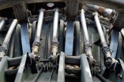 Binnen van de straalturbinemotor Stock Foto