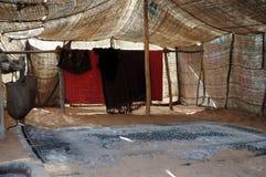 Binnen van een bedouin tent stock foto's