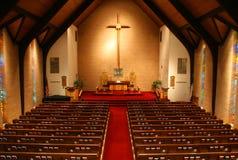 Binnen van een kerk, balkonmening Royalty-vrije Stock Fotografie
