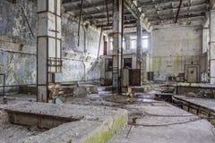 Binnen van een sovjetradarpost in Pripyat, de Oekraïne stock foto's