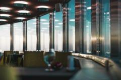Binnen van emtpy luxerestaurant, die verlichting gelijk maken Stock Afbeeldingen
