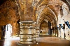 Binnen van het kasteel van de Ridder templer, Akko, Israël royalty-vrije stock afbeelding