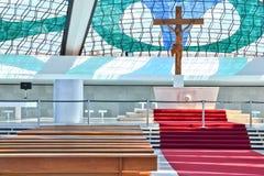 Binnen van Kathedraal van Brasilia stock foto's