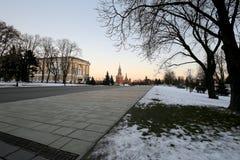 Binnen van Moskou het Kremlin bij nacht, Rusland De Plaats van de Erfenis van de Wereld van Unesco Stock Afbeelding