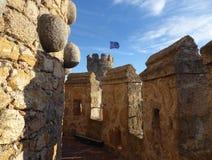 Binnen van muren van het Nieuwe die Kasteel van Manzanares el Real, ook als Kasteel van los Mendoza wordt bekend Stock Foto