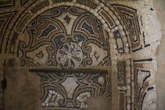 Binnen van Pena-Paleis in Sintra, het district van Lissabon, Portugal In de binnenplaats Het ontwerp van de muurdecoratie Stock Foto's