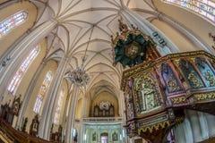 Binnen van St Mary Cathedral, Novi Sad, Servië Royalty-vrije Stock Foto