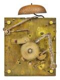 Binnen werkingen van een ouderwetse klok Stock Foto