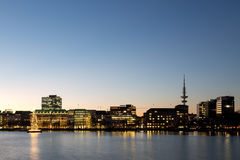 Binnenalster jezioro w Hamburg, Niemcy Obraz Stock