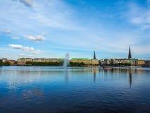 Binnenalster (lac intérieur Alster) dans le hdr de Hambourg Image stock
