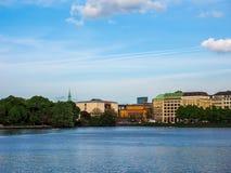 Binnenalster (lac intérieur Alster) dans le hdr de Hambourg Photos libres de droits