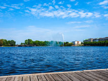 Binnenalster (lac intérieur Alster) dans le hdr de Hambourg Photographie stock libre de droits