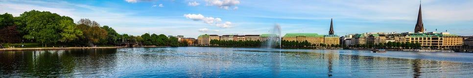 Binnenalster (lago interno Alster) a Amburgo Immagini Stock Libere da Diritti