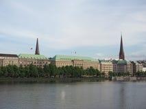 Binnenalster (lago interno Alster) a Amburgo Fotografia Stock Libera da Diritti