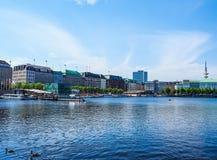 Binnenalster (lago interno Alster) nel hdr di Amburgo Fotografia Stock Libera da Diritti