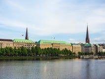 Binnenalster (lago interno Alster) nel hdr di Amburgo Immagine Stock