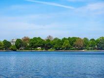 Binnenalster (lago interno Alster) nel hdr di Amburgo Fotografie Stock