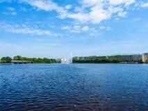Binnenalster (lago interno Alster) nel hdr di Amburgo Immagini Stock Libere da Diritti