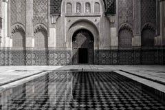 Binnenben yousseff mosque in Marrakech royalty-vrije stock fotografie