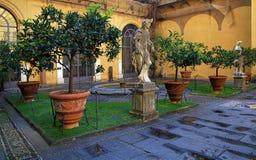 Binnenbinnenplaats van het Paleis van Medici Riccardi, Florence, Italië stock foto's